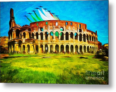 Italian Aerobatics Team Over The Colosseum Metal Print by Stefano Senise