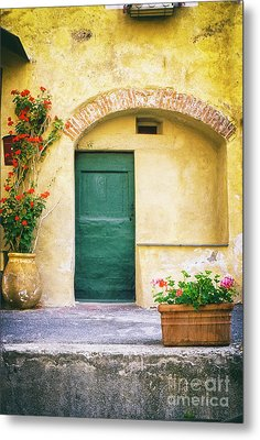 Metal Print featuring the photograph Italian Facade With Geraniums by Silvia Ganora