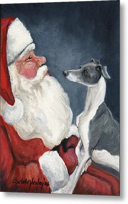 Italian Greyhound And Santa Metal Print by Charlotte Yealey