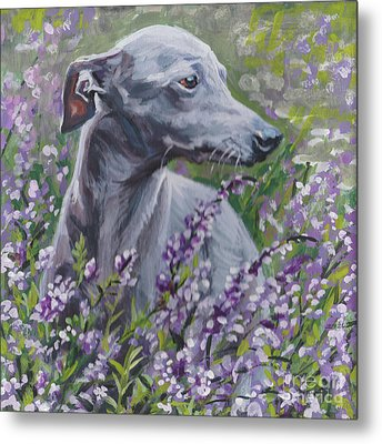 Metal Print featuring the painting  Italian Greyhound In Flowers by Lee Ann Shepard