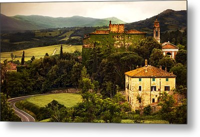 Italian Castle And Landscape Metal Print by Marilyn Hunt