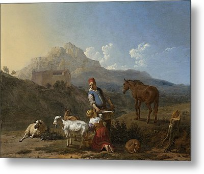 Italian Landscape With Girl Milking A Goat Metal Print by Karel Dujardin