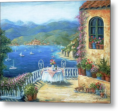 Italian Lunch On The Terrace Metal Print