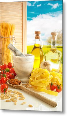 Italian Pasta In Country Kitchen Metal Print by Amanda Elwell
