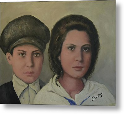 Italian Siblings On Ellis Island Metal Print by Sandra Nardone