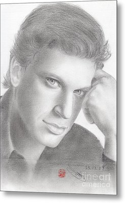 Metal Print featuring the drawing Italian Singer Patrizio Buanne by Eliza Lo