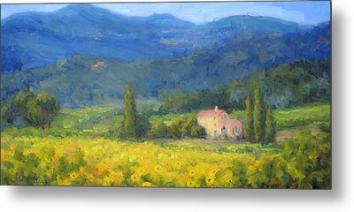 Italian Sunflowers Metal Print by Bunny Oliver