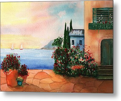 Italian Sunset Villa By The Sea Metal Print by Sharon Mick