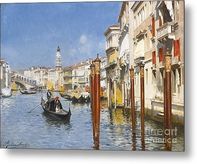 Italian The Grand Canal With The Rialto Metal Print by MotionAge Designs