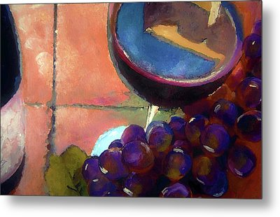 Italian Tile And Fine Wine Metal Print