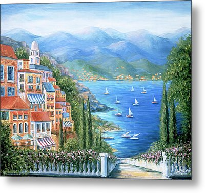 Italian Village By The Sea Metal Print by Marilyn Dunlap