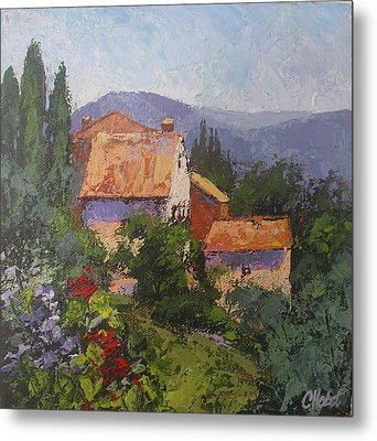 Metal Print featuring the painting Italian Village by Chris Hobel
