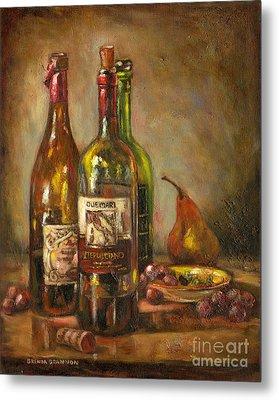Italian Wine Bottles Metal Print by Brenda Brannon