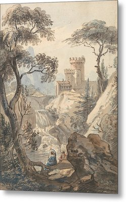 Italianate Landscape With Castle, Cascade And Anglers Metal Print by Paul Sandby