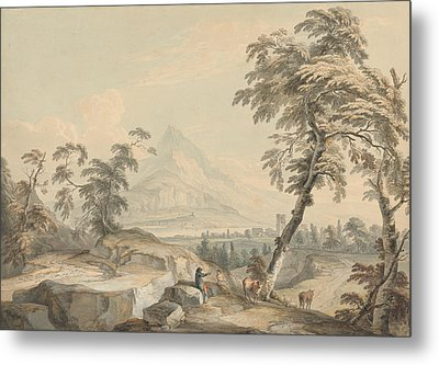 Italianate Landscape With Travelers, No. 1 Metal Print by Paul Sandby