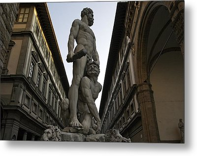 Italy, Florence, Sculpture Of Gercules Metal Print by Sisse Brimberg & Cotton Coulson