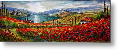 Italy Tuscan Poppies Metal Print by Yvonne Ayoub