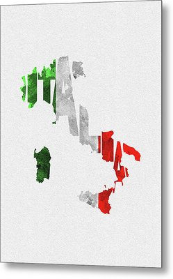 Italy Typographic Map Flag Metal Print