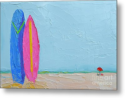 It's A Date - Surf Boards At The Beach - Modern Impressionist Knife Palette Oil Painting Metal Print
