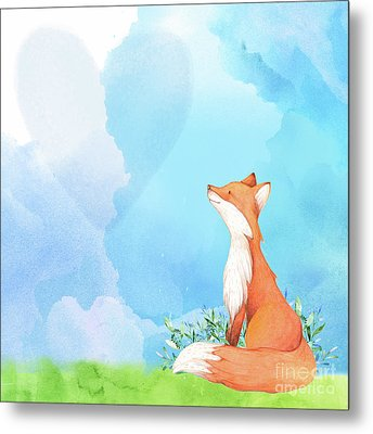 It's All Love Fox Love Metal Print by Tina Lavoie