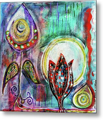 Metal Print featuring the mixed media It's Connected To The Moon by Mimulux patricia no No