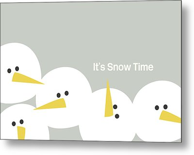 It's Snow Time Snow Heads- Art By Linda Woods Metal Print by Linda Woods