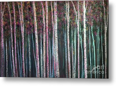 I'ts Twilight Birches Metal Print by Heather McKenzie