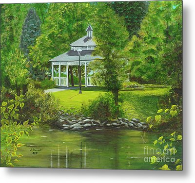 Metal Print featuring the painting Ives Park Gazebo by Judy Filarecki