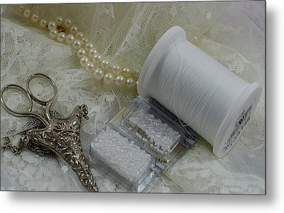 Ivory And Lace Metal Print