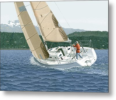J-109 Sailboat Off Comox B.c. Metal Print