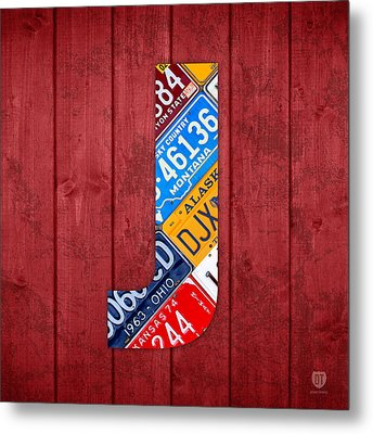 J License Plate Letter Art Red Background Metal Print