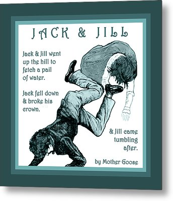 Jack And Jill Vintage Mother Goose Nursery Rhyme Metal Print by Marian Cates
