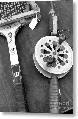 Jack Kramer Wood Racket And Ancient Rod And Reel Metal Print by David Bearden