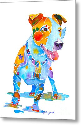 Jack Russell Terrier Colorful Painting Metal Print by Jo Lynch
