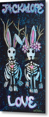 Metal Print featuring the painting Jackalope Love by Laurie Maves ART