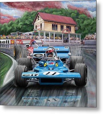 Jackie Stewart At Spa In The Rain Metal Print by David Kyte