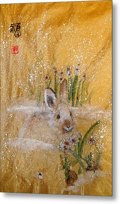 Metal Print featuring the painting Jackies New Year Rabbit by Debbi Saccomanno Chan