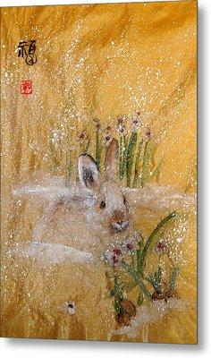Jackies New Year Rabbit Metal Print by Debbi Saccomanno Chan