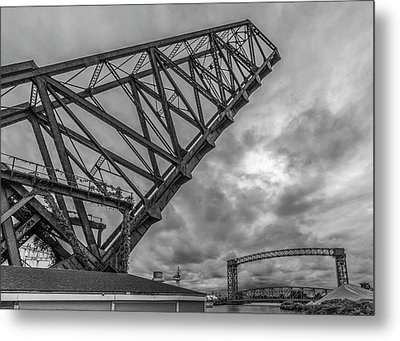 Jackknife Bridge To The Clouds B And W Metal Print