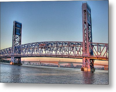 Metal Print featuring the photograph Jacksonville's Blue Bridge At Sunrise by Farol Tomson