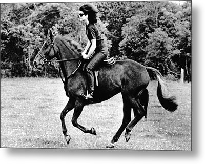 Jacqueline Kennedy, Riding A Horse Metal Print by Everett