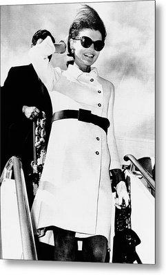 Jacqueline Kennedy, Wearing A White Metal Print