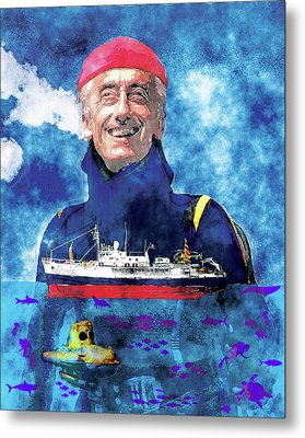 Jacques Cousteau Metal Print by Russell Pierce