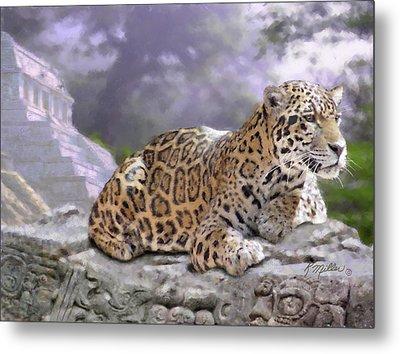 Jaguar And Mayan Temple Metal Print