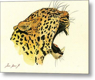 Jaguar Head Painting Watercolor Metal Print by Juan  Bosco