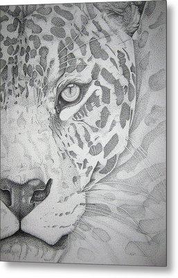 Jaguar Pointillism Metal Print