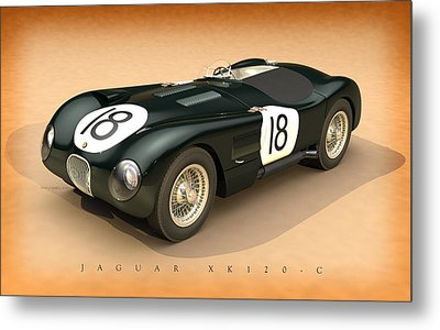 Jaguar Xk120-c Three-quarters Metal Print by Pete Chadwell
