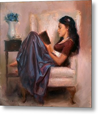 Jaidyn Reading A Book 2 - Portrait Of Woman Metal Print by Karen Whitworth