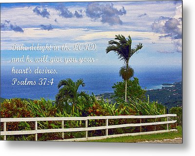 Jamaican Ocean View Ps. 37v4 Metal Print