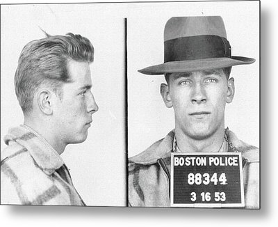 Metal Print featuring the mixed media James Whitey Bulger Mug Shot by Dan Sproul